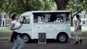 Van Chaud in the Crestbridge commercial shoot Victoria Park London